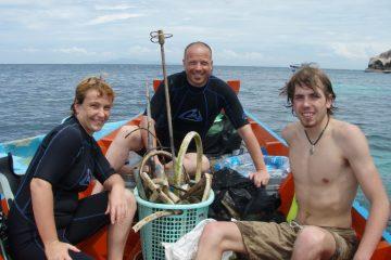 De vangst van 1 onder water clean up.