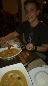Onze eerste curry na het lange reizen