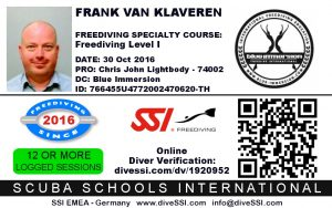 Mijn Freediving Level 1 certificaat